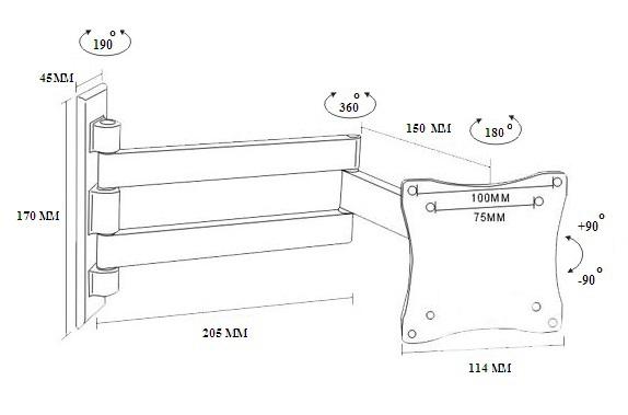 Tvholder - Кронштейн наклонно-поворотный LCD-101