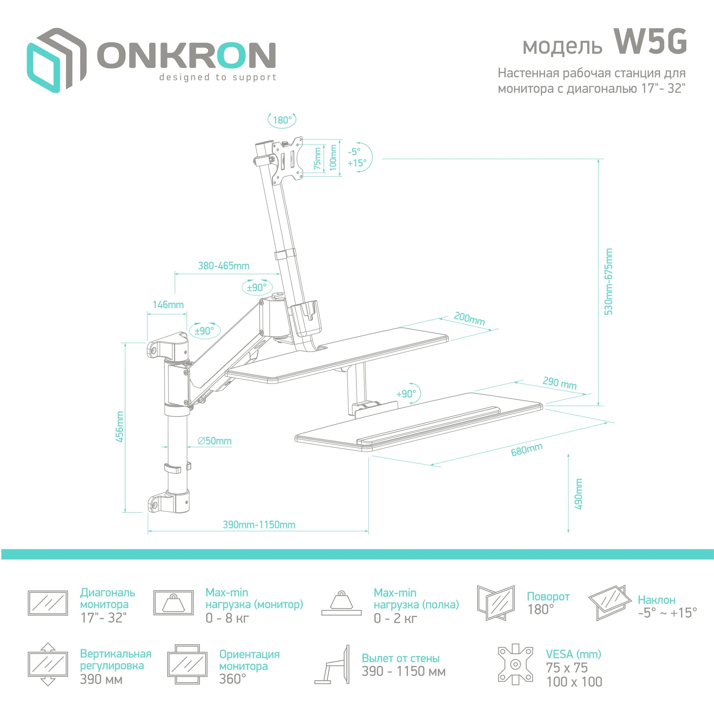 TVHolder - Настенная рабочая станция ONKRON  W5G