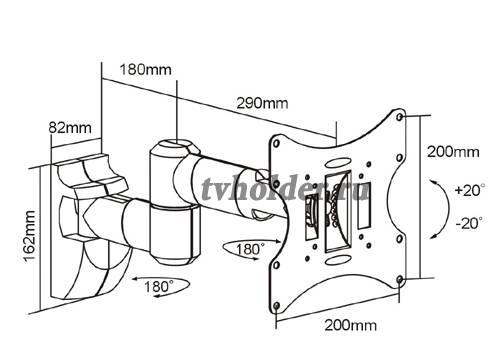 Tvholder - Кронштейн наклонно-поворотный LCD-53