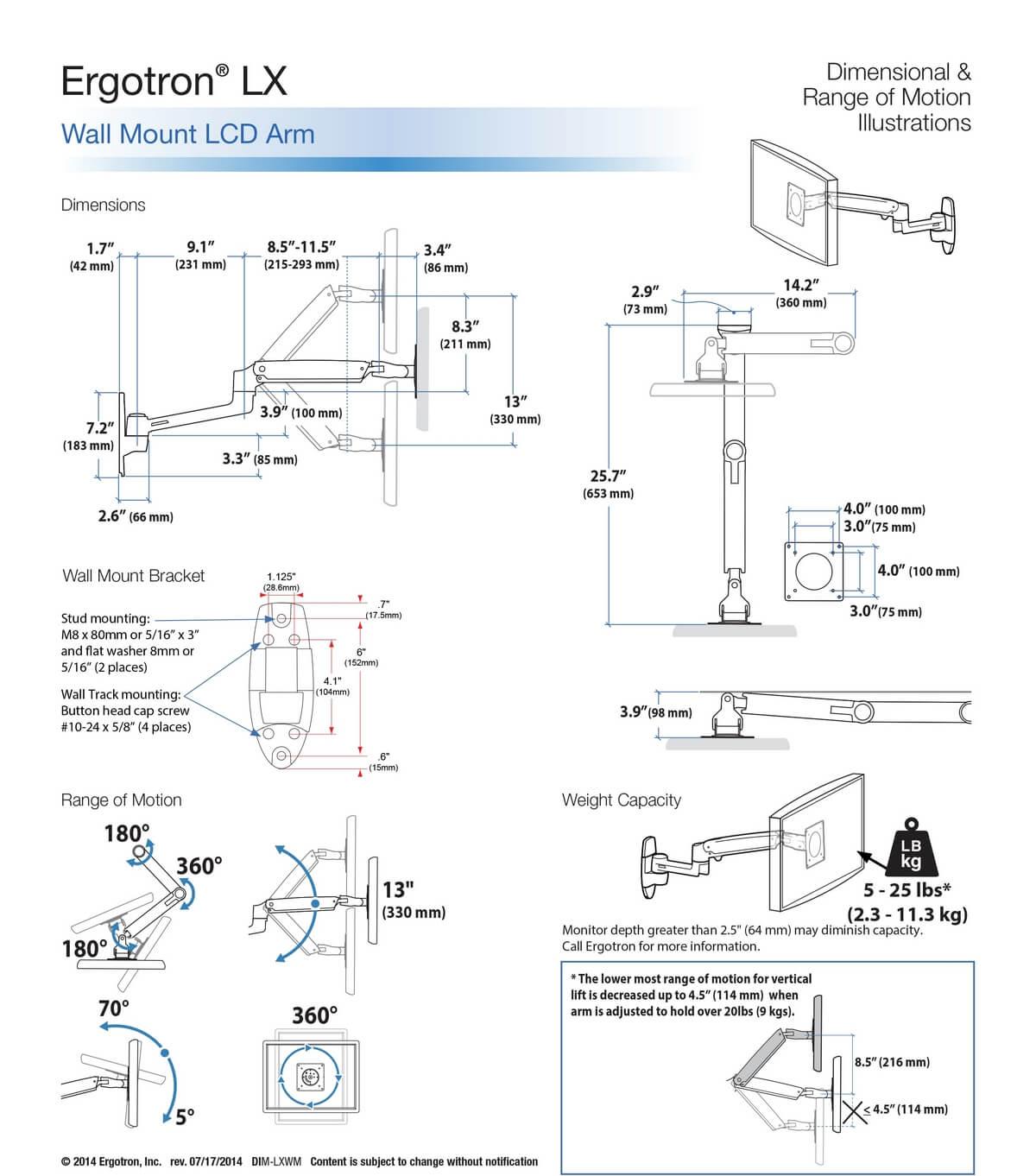 ERGOTRON - Наклонно-поворотный кронштейн ERG-LXARM-243-026 с регулировкой по высоте
