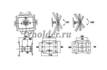 Tvholder - Кронштейн наклонно-поворотный LCD-302
