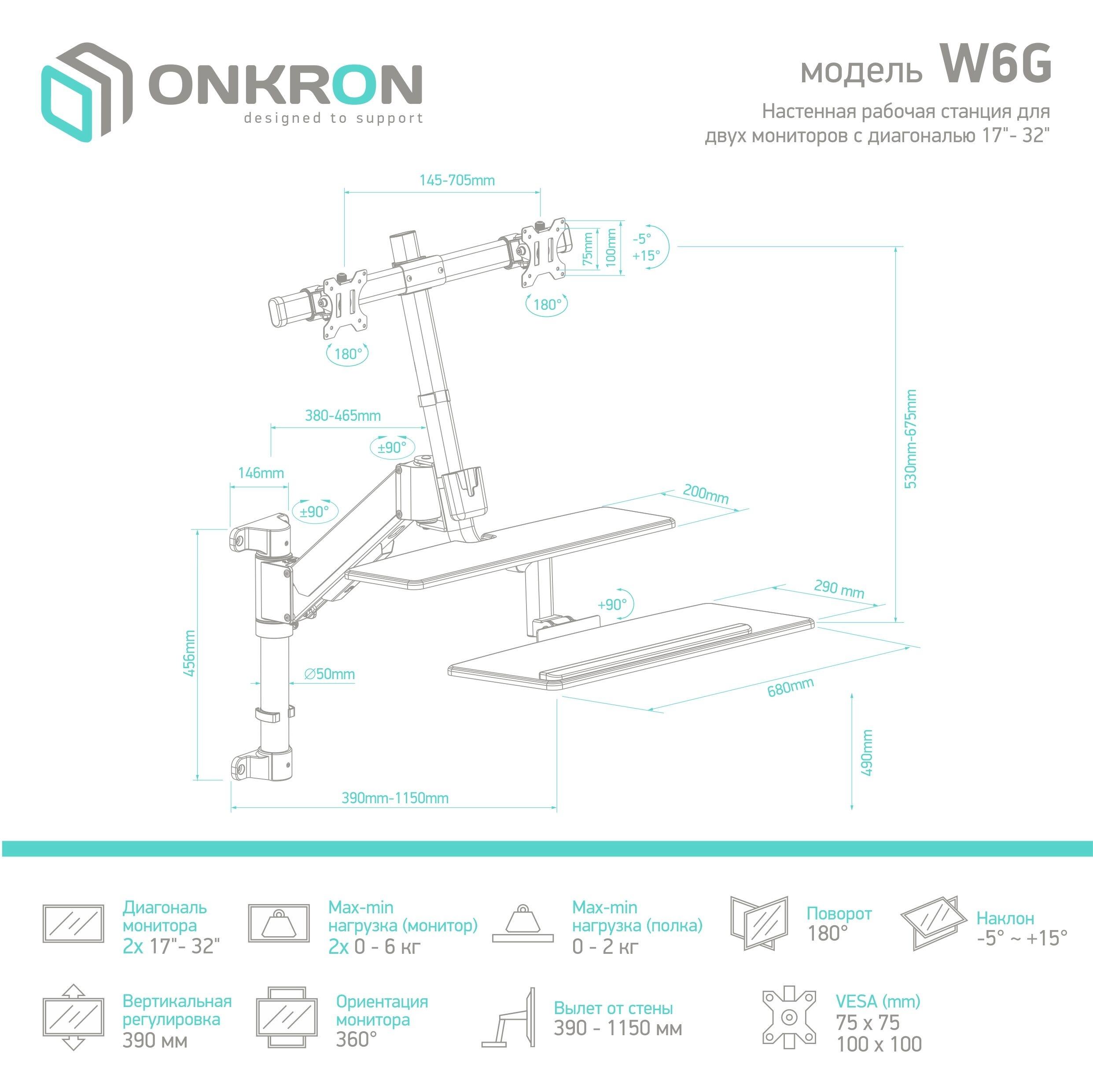 TVHolder - Настенная рабочая станция для двух мониторов ONKRON  W6G